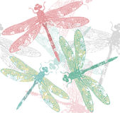 Pattern with Dragonfly Royalty Free Stock Image