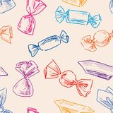 Pattern of the drawn candies royalty free illustration