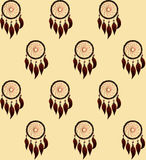 Pattern with dreamcatcher. Drawing of a seamless pattern with native american dreamcatcher with deep red feathers and beads  on a peach color  background Royalty Free Stock Photo