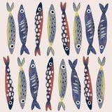 Pattern with dried fish vector illustration