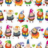 Pattern with the dwarves. Stock Photography