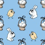 Pattern of the Easter baskets, chicks and bunnies Stock Photo