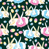Pattern of Easter bunnies and eggs Royalty Free Stock Images