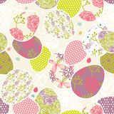 Pattern with easter eggs vector illustration