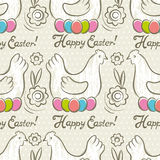 Pattern  with  easter eggs, flower and hens Royalty Free Stock Photos