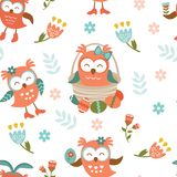 Pattern with Easter owls Royalty Free Stock Photography