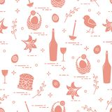 Pattern of Easter symbols: Easter cake, chick, lily, baskets, eg. Gs and other. Design for banner, poster or print Stock Photography