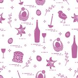 Pattern of Easter symbols: Easter cake, chick, lily, baskets, eg. Gs and other. Design for banner, poster or print Stock Photo