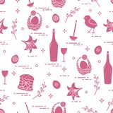 Pattern of Easter symbols: Easter cake, chick, lily, baskets, eg. Gs and other. Design for banner, poster or print Royalty Free Stock Images