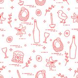 Pattern of Easter symbols: Easter cake, chick, lily, baskets, eg. Gs and other. Design for banner, poster or print Royalty Free Stock Image