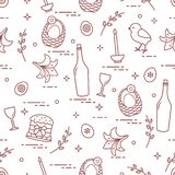 Pattern of Easter symbols: Easter cake, chick, lily, baskets, eggs and other. Design for banner, poster or print royalty free illustration