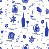 Pattern of Easter symbols: Easter cake, chick, lily, baskets, eggs and other. Design for banner, poster or print vector illustration