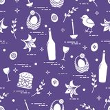 Pattern of Easter symbols: Easter cake, chick, lily, baskets, eg. Gs and other. Design for banner, poster or print vector illustration