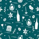 Pattern of Easter symbols: Easter cake, chick, lily, baskets, eggs and other. Design for banner, poster or print stock illustration