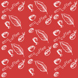 Pattern eco coffee. Coffee beans germinated, coffee berry, coffee leaves, cups, coffee eco label Stock Images