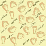 Pattern eco coffee. Pattern with sprouts coffee beans, coffee leaves, coffee berries, a cup of coffee and eco-labeled Royalty Free Stock Photo
