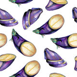 Pattern with eggplant Royalty Free Stock Images