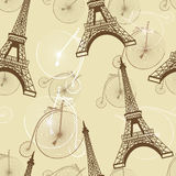 Pattern with the Eiffel Tower and bicycles Royalty Free Stock Images