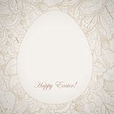 Pattern elegant easter frame with egg and rabbit. Stock Photos