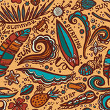 Pattern with element of surfing. Royalty Free Stock Images