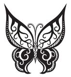 Butterfly with ornaments in Polynesian style. Pattern elements in a form of butterfly made in vector. Raster illustration Stock Image