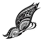 Butterfly with ornaments in Polynesian style. Pattern elements in a form of butterfly. Raster illustration Stock Photos