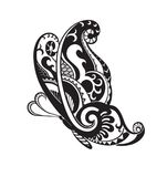 Butterfly with ornaments in the style of the Maori. Pattern elements in a form of butterfly. Raster illustration Stock Photo