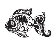 Fish with ornaments in the style of the Maori. Pattern elements in a form of fish. Raster illustration Royalty Free Stock Image