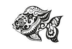 Fish with ornaments in the ethnic style. Pattern elements in a form of fish. Raster illustration Stock Image
