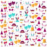 Pattern with elements of a holiday and carnival. Carnival poster. Banner with bright party elements - mask, hat, feather, lips, mustache, ice cream, crown Royalty Free Stock Photography