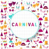 Pattern with elements of a holiday and carnival. Carnival poster. Banner with bright party elements - mask, hat, feather, lips, mustache, ice cream, crown Stock Photography