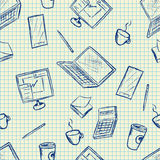Pattern elements of office supplies. Vector pattern sketch elements of office supplies on notebook texture Stock Photos