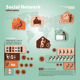 Pattern with elements of social infographic Stock Photography