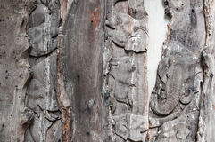 Pattern of elephant carved on wood background. Handmade home decoration stock photos