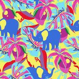 Pattern with elephant and mango. Seamless pattern with mango, flowers, palm leaves and elephants on yellow, abstract tropical exotic background stock illustration