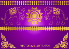 Pattern Elephant outline thai tradition Stock Image