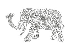Pattern of an elephant. Side view vector illustration