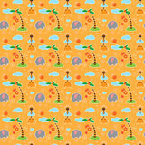 Pattern with elephants, giraffes, clouds, palms and fruit Stock Photography