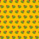 Cactus - emoji pattern 23. Pattern of a emoji cactus that can be used as a background, texture, prints or something else vector illustration