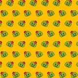 Cactus - emoji pattern 24. Pattern of a emoji cactus that can be used as a background, texture, prints or something else stock illustration
