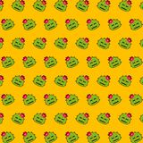 Cactus - emoji pattern 25. Pattern of a emoji cactus that can be used as a background, texture, prints or something else vector illustration