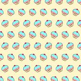 Cupcake - emoji pattern 20. Pattern of a emoji cupcake that can be used as a background, texture, prints or something else royalty free illustration