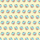 Cupcake - emoji pattern 24. Pattern of a emoji cupcake that can be used as a background, texture, prints or something else vector illustration