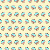 Cupcake - emoji pattern 28. Pattern of a emoji cupcake that can be used as a background, texture, prints or something else royalty free illustration
