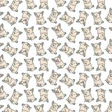 Pattern with emotional dogs on the white background. Pattern with emotional dogs, beautiful wrapper, cloth, cute animals on the white background royalty free illustration