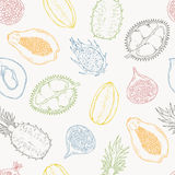 Pattern of exotic fruits. On a light background. Stock Image