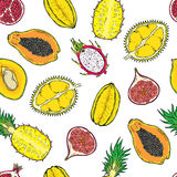 Pattern of exotic fruits. On a wight background. Stock Photography