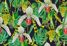 Pattern of exotic plants: flowers white and yellow orchids and monstera. Tropical jungle in the pattern. Watercolor drawing can be used as a light playful Royalty Free Stock Photos