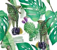 Pattern of exotic plants: orchids, banana leaves and monstera. A tropical forest in a pattern. Watercolor drawing can be used as a light playful background Royalty Free Stock Images