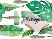 Pattern of exotic plants and women`s shorts. Sunny mood in the picture. Watercolor drawing can be used as a light playful background filling or as an Royalty Free Stock Image